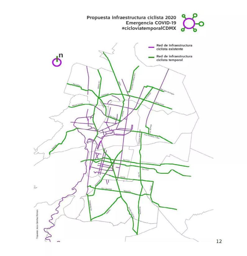 Proposed Temporary Bicycle & Pedestrian Trails, Mexico City (Source - https://www.cnet.com/roadshow/news/covid-19-coronavirus-mexico-city-bike-paths/)