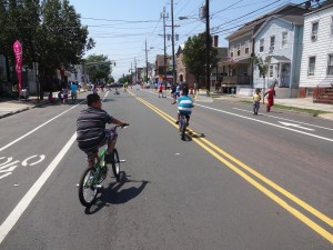 Children bicycling during Ciclovia