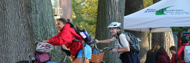 "Montclair's first ""Pop Up"" Bicyle Lane Debuts on National Bike and Walk to School Day"