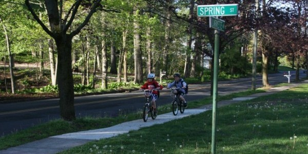 Children bicycling to school in Chatham, NJ