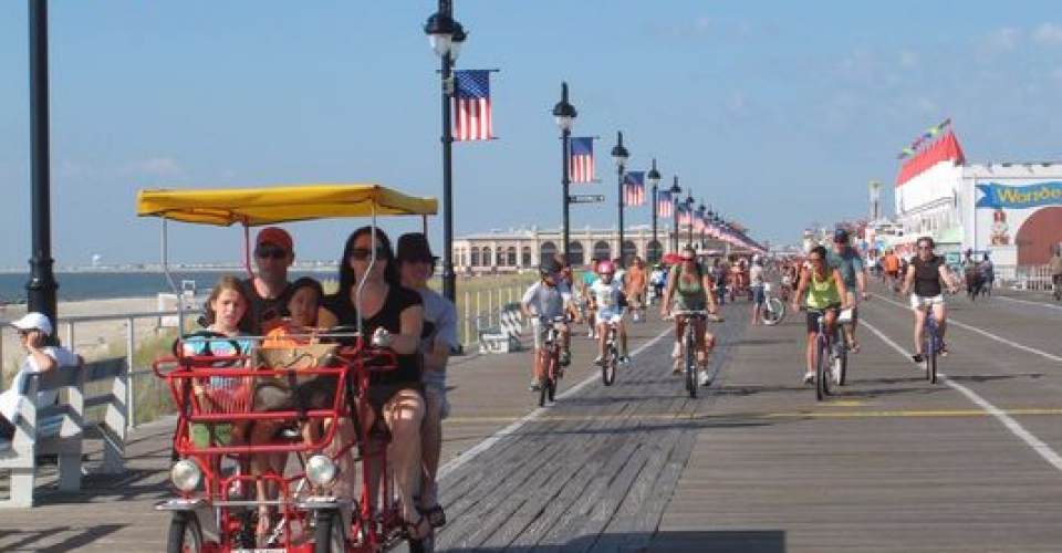 Bicylists along boardwalk in Asbury Park
