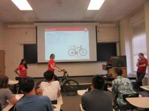 Betsy Harvey demonstrates how to pick a bicycle