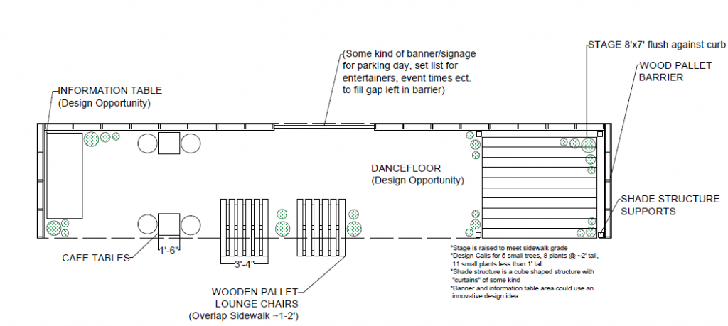 An early design for one of this year's parklets.