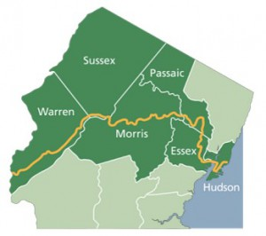 """Proposed route of the Morris Canal Greenway. Source:  <a href=""""https://sites.google.com/site/morriscanalworkinggroup/"""">Morris Canal Working Group</a>"""