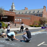 A chance to draw chalk art outside the Rutgers Museum