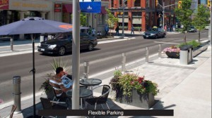Example of flexible parking. Bollards and outdoor seating can be removed to allow on-street parking. (Courtesy of Arterial, LLC)