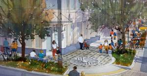 Sidewalk treatment for Main Street and Millburn Ave. The millstone design is meant to evoke the township's history. (Courtesy of Arterial, LLC)