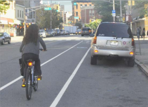 Example of a bicycle lane in Jersey City, NJ