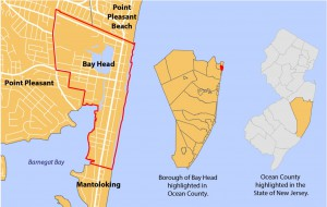 Map showing the location of Bay Head, New Jersey