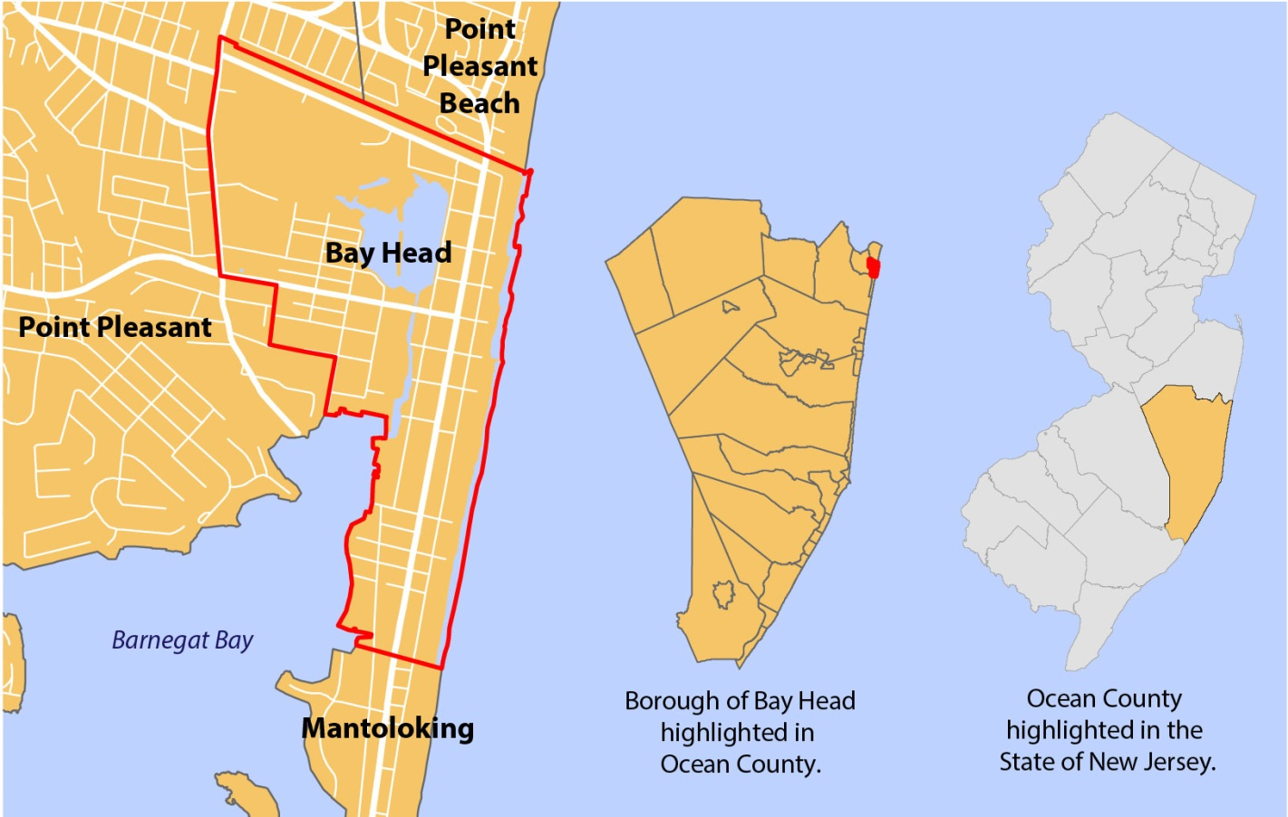 Map Showing The Location Of Bay Head New Jersey