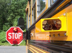An example of a camera attached to a school bus