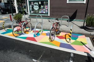 Colorful, on-street bicycle parking in San Francisco. Photo credit: SFMTA