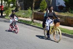 A mother and daughter bicycling in New Brunswick, NJ.