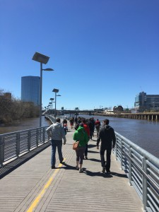 View of the walking tour from the Schuylkill River Boardwalk.