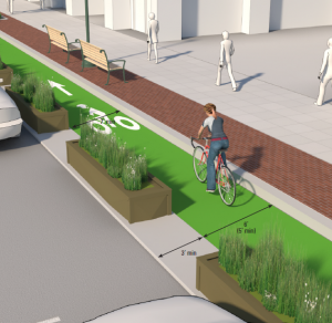 Suggested treatment for a protected bicycle lane.