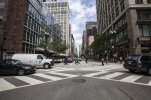 A scramble crosswalk in Chicago. Photo by Time Out.