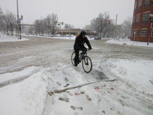 Bicycling is a critical transportation link for many people, regardless of the weather.