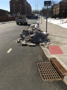 A bicycle lane blocked by snow, New Brunswick, New Jersey