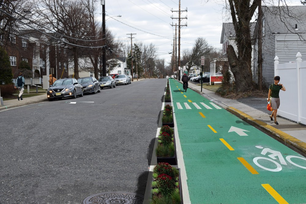 A potential on-road bicycle path, as imagined in the Eatontown Greenway Plan