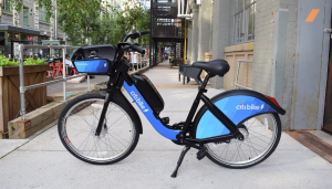 An electric Citibike, seen in New York City. These pedal-assist e-bikes will be available in Jersey City this fall.